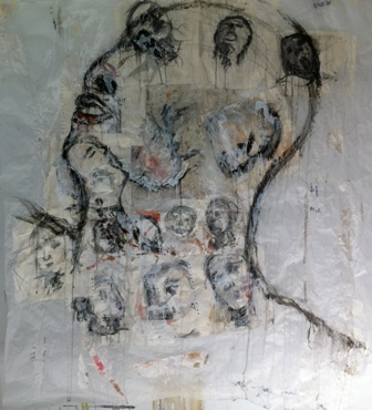 """Mil caras"", mixta s / t, 150 x 150 cm."