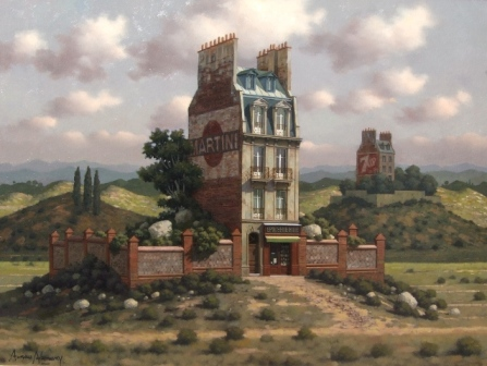 """Edificio solitario"", óleo s / madera, 60 x 80 cm."