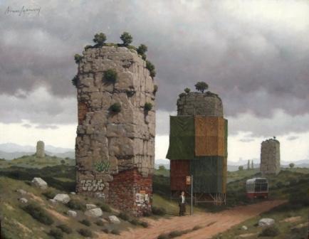 """Los monolitos"", óleo s / madera, 59 x 77 cm."
