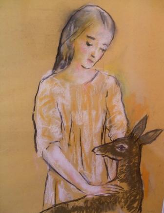 """""""Niña con ciervo"""" (1966-67), mixta s / p. 63 x 49 cm."""