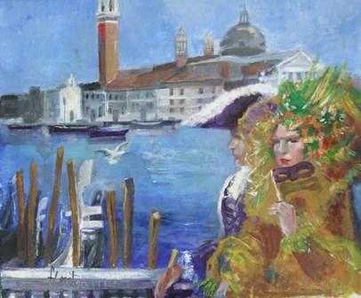 """""""Gran Canal (Venecia)"""", óleo s / t, 54 x 65 cm."""