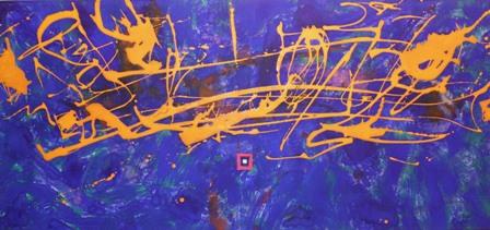 """""""Relámpagos"""", mixta s / t, 47 x 100 cm."""