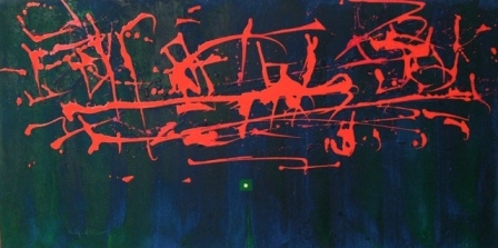 """Dancing the canvas"", mixta s / t, 50 x 100 cm."