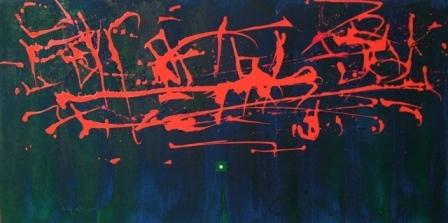 """""""Dancing the canvas"""", mixta s / t, 50 x 100 cm."""