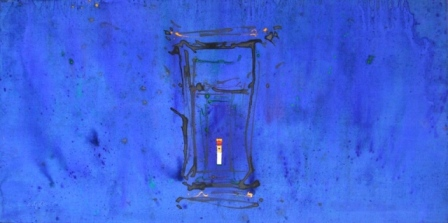 """Templo solitario"", mixta s / t, 50 x 100 cm."