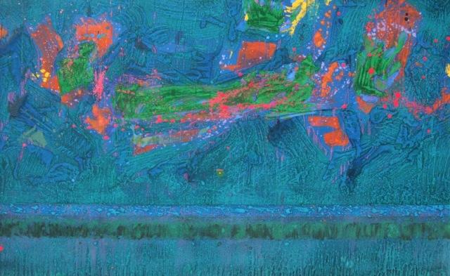 """""""Green Vibe"""", mixta s / t, 97 x 162 cm."""