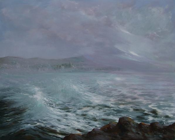 """""""Luz de mañana (Sitges)"""", óleo s / t, 130 x 162 cm."""