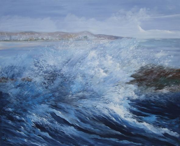 """Mar brava"", óleo s / t, 130 x 162 cm."