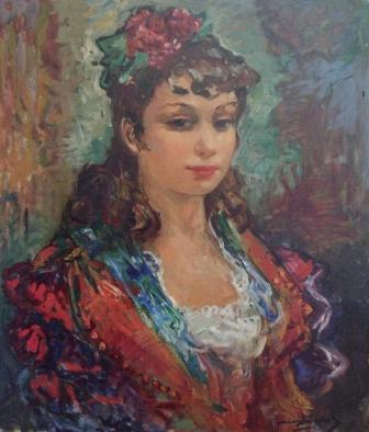 """""""Retrato de joven"""", óleo s / t, 46 x 35 cm."""