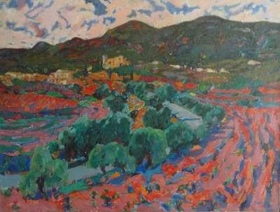 """""""El Revolt"""", óleo s / t, 97 x 130 cm."""