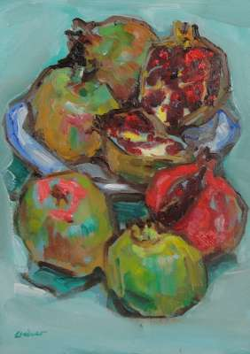 """Granadas"", óleo s / m, 35 x 20 cm."