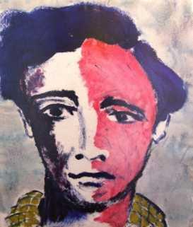 """""""Retrato de joven"""", mixta s / papel, 70 x 58 cm."""