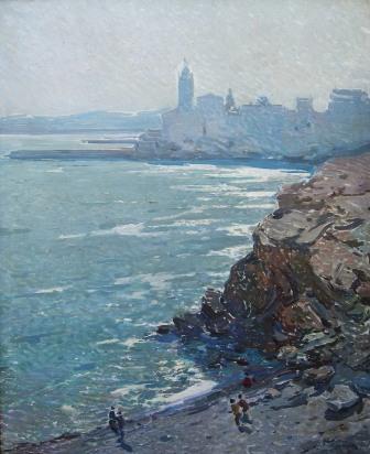 """Playa en Sitges"", óleo s / t, 100 x 81 cm."
