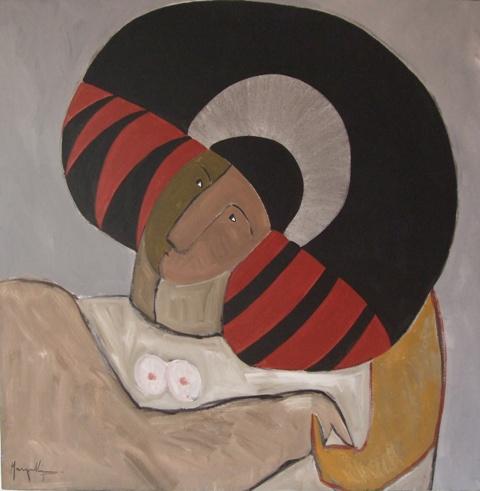 """Máscara"", acrílico s / tela, 100 x 100 cm."