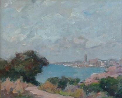 """""""Vista de Sitges"""", óleo s / t, 34 x 42 cm."""