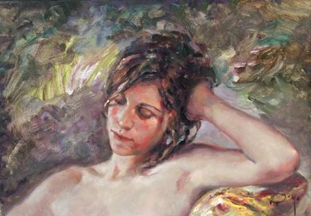 """Descanso"", óleo s / t, 38 x 55 cm."