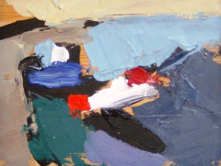 """Paisatje abstract"", óleo s / t, 9 x 12 cm."