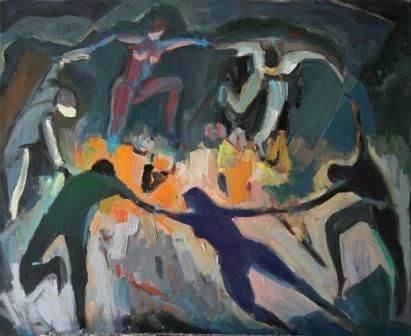 """Dança de foc"", óleo s / t, 50 x 61 cm."