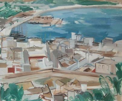 """""""Vista de Ibiza"""", óleo s / t, 54 x 65 cm."""
