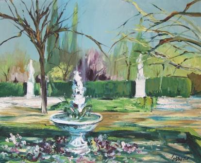 """""""Fuente en el parque de la Ciudadella"""", óleo s / t, 65 x 81 cm."""